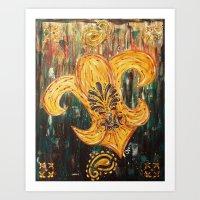 fleur de lis Art Prints featuring Fleur De Lis by Crystal Nero