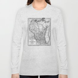 Vintage Map of Wisconsin (1859) BW Long Sleeve T-shirt