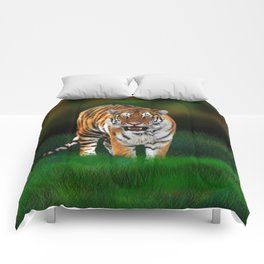 Tiger on Green Comforters