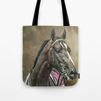 racing Tote Bags featuring Racing Thoroughbred by tarrby/Brian Tarr