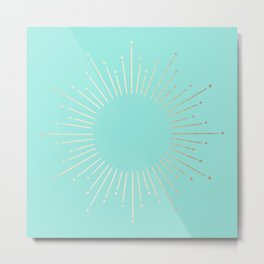 Simply Sunburst in Tropical Sea Blue Metal Print