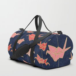 Red origami cranes on navy blue Duffle Bag