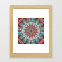 Soft Blue Grey Boho Mandala Framed Art Print