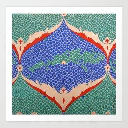BLUE GREEN IZNIKY Art Print
