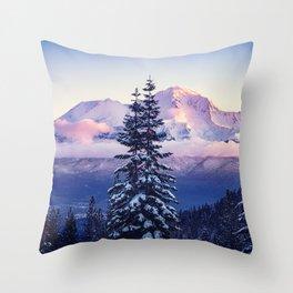Glorious Beginning sunrise on Mount Shasta Throw Pillow