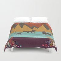 wolves Duvet Covers featuring Wolves by Kakel
