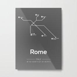 Rome Subway Map Grey Metal Print