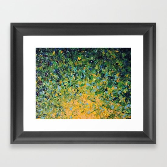 IRISH SUNRISE - Beautiful BOLD Lime Kelly Forest Green Sunrise Sunset Abstract Nature Painting Framed Art Print