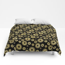 Chinese Coin Pattern Gold on Black Comforters