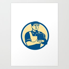 Cheesemaker Holding Cheese Retro Art Print