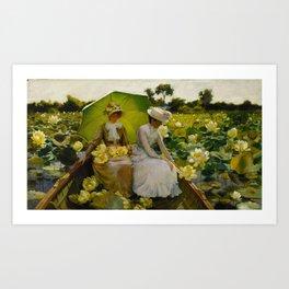 Charles Courtney Curran - Lotus Lilies [1888] Art Print