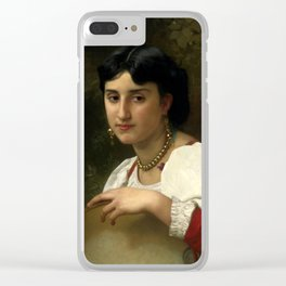 "William-Adolphe Bouguereau ""Italienne au Tambourin (Italian woman with tambourine)"" Clear iPhone Case"