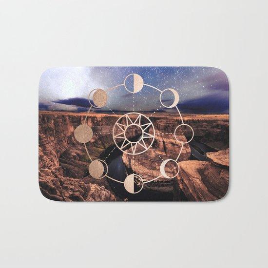 Mandala Southwest Desert Sun and Moon Phases Bath Mat