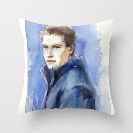 Portrait of GP driver Stoffel Vandoorne. Watercolor on paper. Throw Pillow