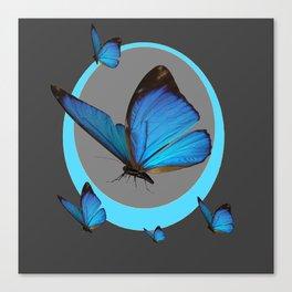NEON BLUE BUTTERFLIES  & CHARCOAL GREY PATTERN Canvas Print