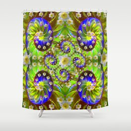 ULTRA VIOLET GREEN DAFFODIL GARDEN MAZE Shower Curtain