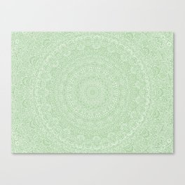 The Most Detailed Intricate Mandala (Green Olive Lime) Maze Zentangle Hand Drawn Popular Trending Canvas Print