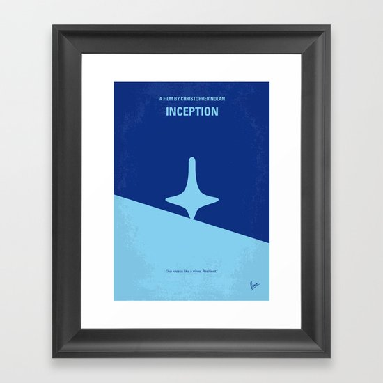 No240 My Inception minimal movie poster Framed Art Print