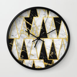 Mixed Marble Triangles // Gold Flecked Black & White Marble Wall Clock