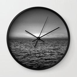 summer sunset at peroj beach croatia istria black white Wall Clock