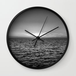 summer sunset at peroj beach croatia istria black white Wall Clock