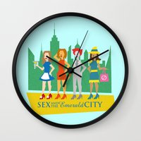 sex and the city Wall Clocks featuring Sex and the Emerald City by NBdesign