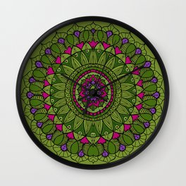 Bohemian Mandala in Green with Pink and Purple Wall Clock