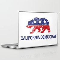 political Laptop & iPad Skins featuring California Political Democrat Bear Distressed by Democrat