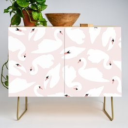 Swan Pattern on Pink 030 Credenza