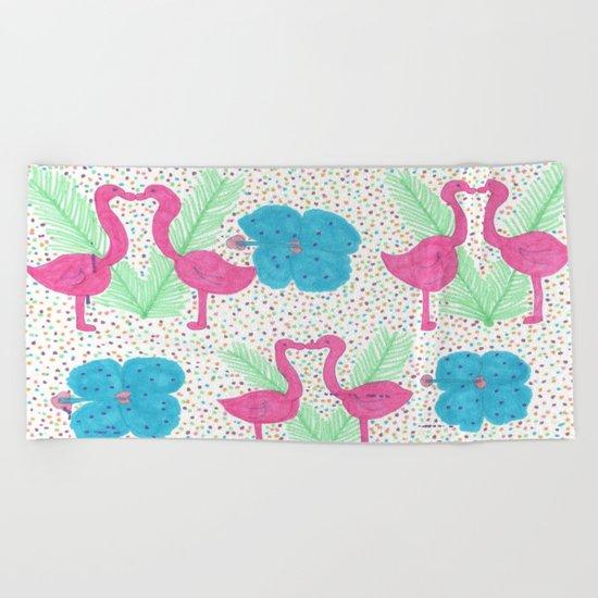 Flamingo Party Pattern Beach Towel