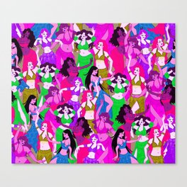 Belly Dancers - Psychedelic Neon Canvas Print