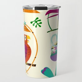 Vintage Modern Tiki Birds Travel Mug