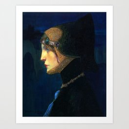 Head of a Lady in Medieval Costume by Lucien Victor Guirand de Scevola (c.1900) Art Print