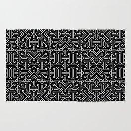 Black and White Ethnic Sharp Geometric  Rug