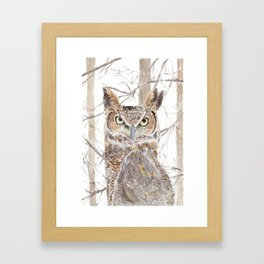 "Watercolor Painting of Picture ""Owl in the Forest"" Framed Art Print"