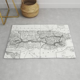 Vintage Map of Puerto Rico (1901) BW Rug