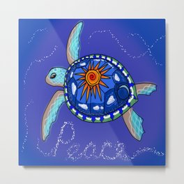 Peace Turtle Metal Print
