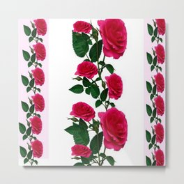 DECORATIVE CLIMBING PINK ROSES ON WHITE ART Metal Print