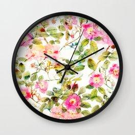 soft pink rosebush Wall Clock