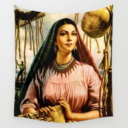Jesus Helguera Painting of a Mexican Fisher Girl With Basket Wall Tapestry