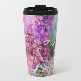 Elephant art mother child pink floral Travel Mug