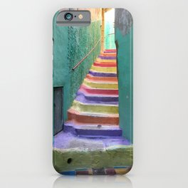 Colorful steps in Moulay Idriss, Morocco iPhone Case