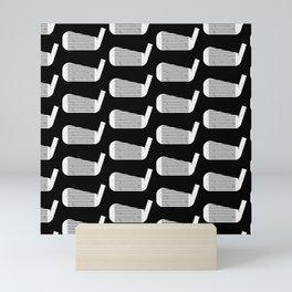 Golf Club Head Vintage Pattern (Black/White) Mini Art Print