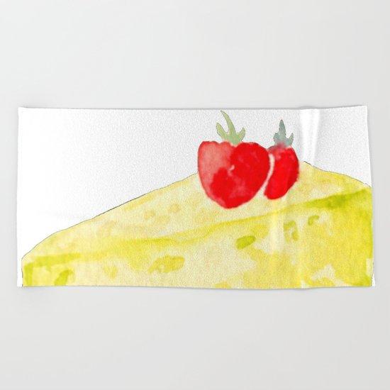 Lemon & Strawberry Cake Beach Towel