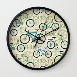 Bicycle Journey Blue Wall Clock