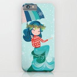 Christmas mermaid illustration iPhone Case