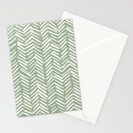 Boho, Abstract, Herringbone Pattern, Sage Green and White Stationery Cards