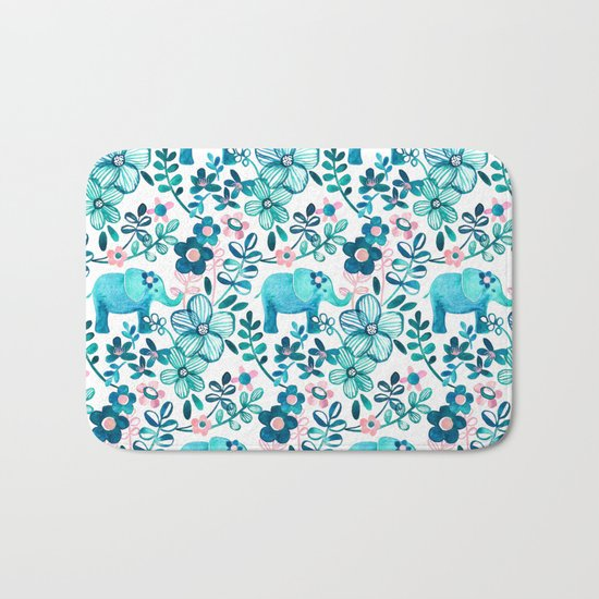 Dusty Pink, White and Teal Elephant and Floral Watercolor Pattern Bath Mat