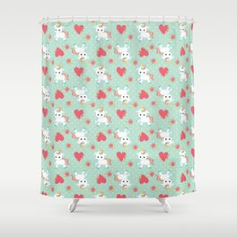 Baby Unicorn with Hearts Shower Curtain