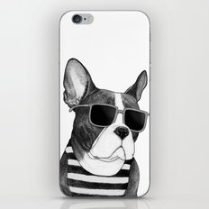 Frenchie Summer Style b&w iPhone & iPod Skin